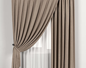 Brown curtains with white tulle 3D