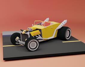 Low Poly Hot Rod 2 versions 3D asset