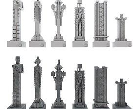 3D model Art deco chess set