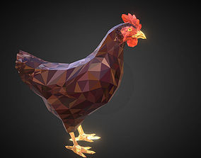 3D asset Christmas Chicken Brown Low Polygon Art Bird
