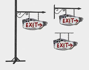 old wooden exit sign 02 3D asset