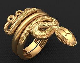 3D print model Snake Animal Gold Ring 2