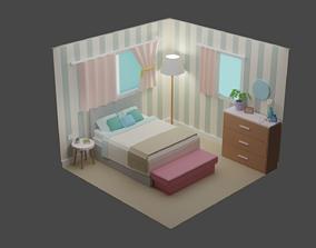 3D asset low-poly Bedroom 14