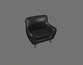 3D model game-ready Black Leather Armchair