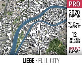 Liege - city and surroundings 3D asset realtime