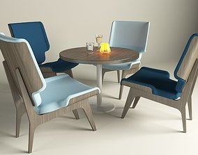 Lounge chair and table 3D model