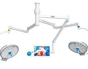 Drager Polaris 600 Surgical Lights 3D Model illumination