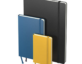 Moleskine notebooks 3D
