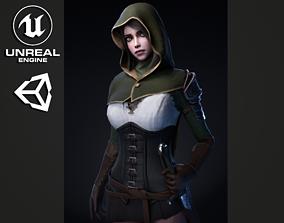 3D model Swordsman Girl - Game Ready