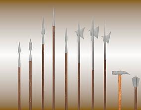 3D model Medieval polearm set
