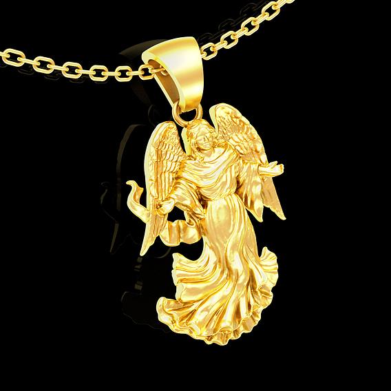 Angel Embrace pendant jewelry Gold 3D print model