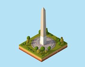 3D asset Cartoon Lowpoly USA Washington Monument