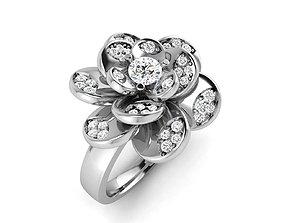 Women Flower solitaire ring 3dm stl render detail 3D