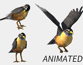 animated low-poly bird 3D model