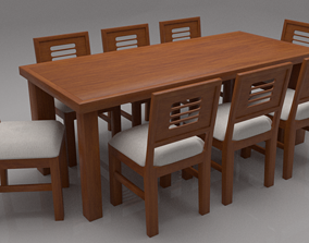 3D asset Acropolis Solid Wood Cushioned Eight Seater 1
