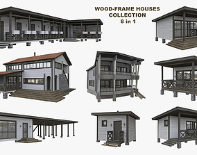 Wood-frame Houses Collection for Resort Scenes 3D model 2
