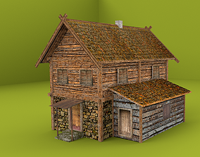 low poly wood house 3D model