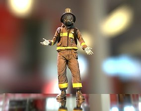 Firefighter Character 3D model low-poly