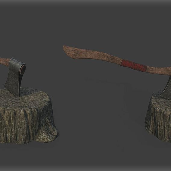 Game Art : Tree Bark and Axe