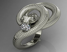 diamond-ring 3D print model Snake Ring