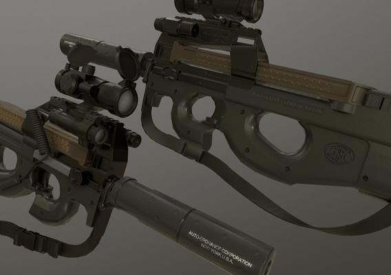 P90 Sub-machine gun - Low Poly Game Model