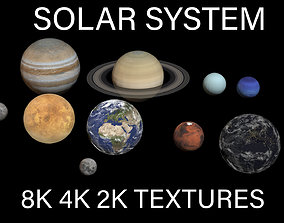 8K PBR Solar System Planets space 3D model