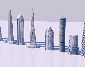 Futuristic skyscrapers downtown 3D