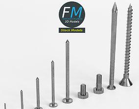 3D Iron nails and screws set