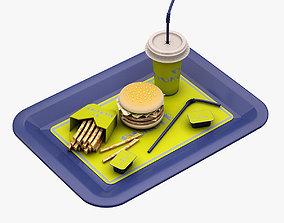 3D model game-ready Hamburger Set