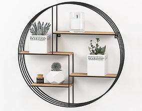 Round shelf decoration set 3D model