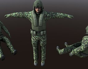 Helicopter Soldier - Pilot simple model Low Poly 3D asset