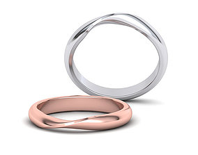 D-shaped Mobius Wedding band 3mm 3dmodel