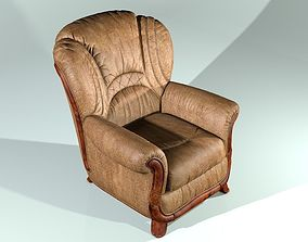 Leather armchair with wooden details 3D model
