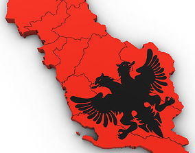 3d Political Map of Albania albania