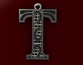 3D printable model typographic Alphabet Pendant