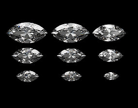 marquise Diamond Marquise Different Sizes 3D