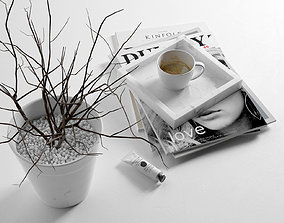 3D Morning Composition with Magazines Coffee and Vase