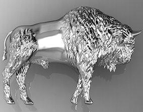 3D printable model bison relief