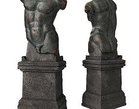 3D asset Roman man torso with pedestal