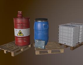 Building materials and barrels 3D asset