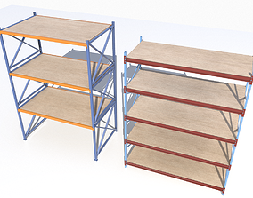 3D asset Industrial shelves 5