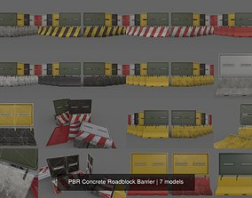 PBR Concrete Roadblock Barrier 3D model