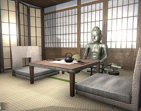 Japanese cafe - modular interior 3D model low-poly