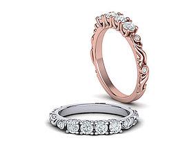 Unique Band ring 3d model Art nouveau style