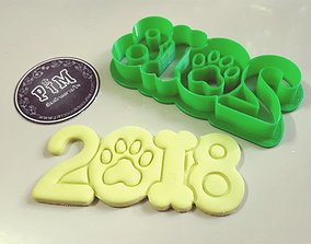 New year 2018 dog year cookie cutter 3D printable model