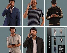 Set of 3D men on the phone street