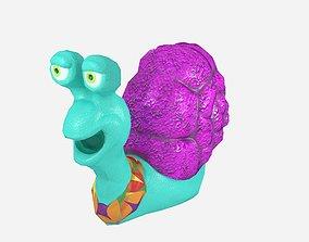 3D model Cartoonish low-poly snail