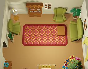 3D model Cartoon Christmas living room