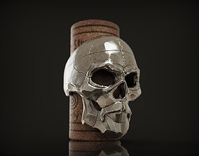 Ring Skull with beard from Silver 3D printable model 1