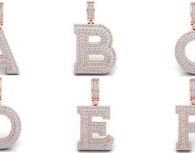 Capital Alphabet Diamond Pendants 3d Model print